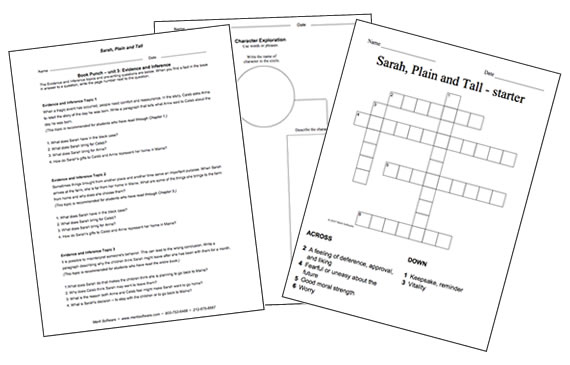 Book Punch Interactive response to literature teaching tools – Stone Fox Worksheets